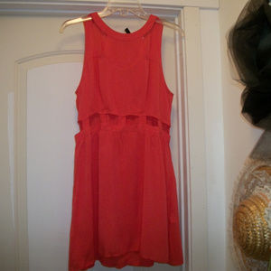 SEXY  BRIGHT ORANGE LITTLE VISCOSE CUTOUT DRESS 14